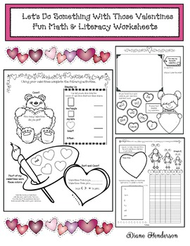 Let's Do Something With Those Valentines! Fun Math & Literacy Worksheets