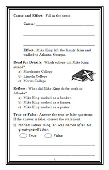 Let's Dream, Martin Luther King, Jr.! (Roop) Book Study / Comprehension (29 pgs)