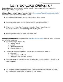 Let's Explore Chemistry; 45 Minute w/ Technology Activity (Substitute Lesson)