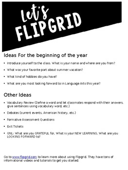 Let's Flipgrid! Brainstorming Guide