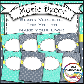 Let's Get Organized - AQUA and GRAY - Music Binder Covers and Spines!