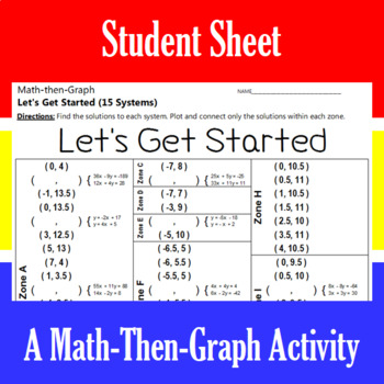 Let's Get Started - A Math-Then-Graph Activity - Solve 15 Systems