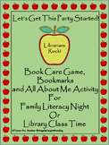 Let's Get This Party Started! Book Care Game, Bookmarks, All About Me Activity