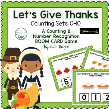 Let's Give Thanks BOOM CARDS Counting Sets to 10