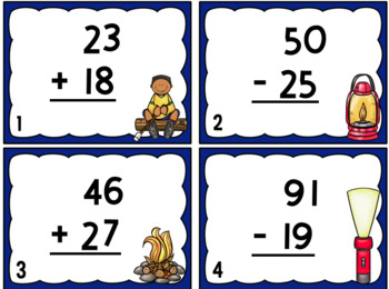 Let's Go Camping- Addition and Subtraction WITH Regrouping Task Cards