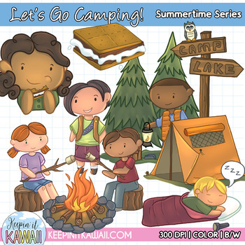 Let's Go Camping Clip Art Set - Summer Clipart - Camping Clipart