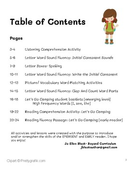 Early Reader Let's Go Camping Activities