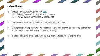 Let's Go Shopping! Decimal Activity - Google Docs