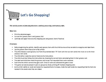 Let's Go Shopping! Following Directions, Sequencing, and Auditory Memory Skills