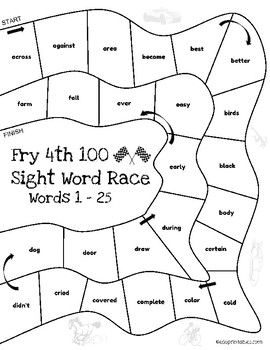 Let's Go! Sight Word Race - 4th 100 Fry Sight Words