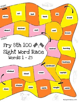 Let's Go! Sight Word Race - 8th 100 Fry Sight Words