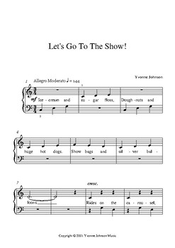 Let's Go To The Show! - An Easy Level 1 Piano Solo