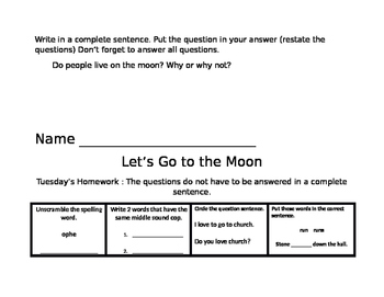 Let's Go to The Moon Common Core Journeys