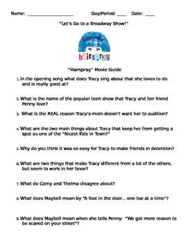 """Let's Go to a Broadway Show!  """"Hairspray"""" Movie Guide"""