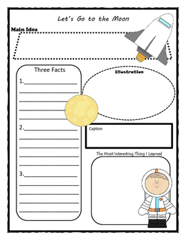 Let's Go to the Moon Story Map - Graphic Organizer