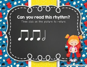 Let's Go to the Movies! Interactive Rhythm Practice Game - Ta-a/Half note