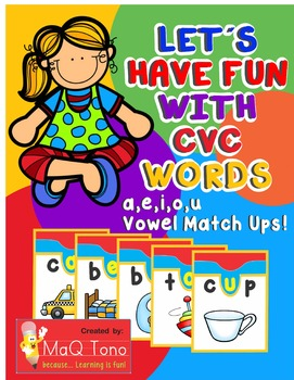 Let´s Have Fun with CVC Words Vowels Match Ups BUNDLE All 6 Files