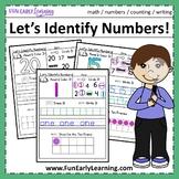 Let's Identify Numbers! 0-20 No Prep Worksheets