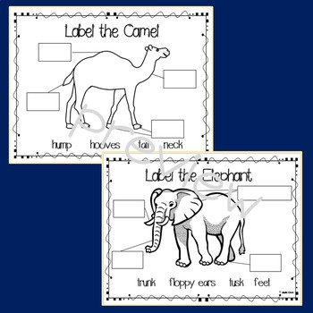 Let's Label the Zoo Animals: Sample Pages; elephant & camel
