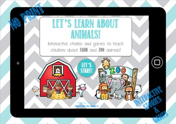 Let's Learn About Animals - NO PRINT interactive books and games