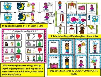 OPPOSITES-ANTONYMS ACTIVITIES, GAMES, CENTERS FOR KINDERGARTEN- BUNDLE