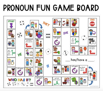 let s learn about pronouns game board freebie by panda speech tpt