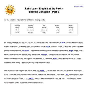 Let's Learn English at the Park - Video, Transcript, Lesson Plan, Worksheets