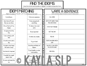 Let's Learn Idioms! (Unit for SLPs and SPED)