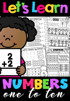 Let's Learn Numbers 1-10 No Prep Printables BUNDLE in QLD Beginners Font