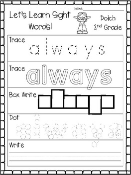 Let's Learn Sight Word Dolch 2nd Grade Worksheets. KDG Sight Words.
