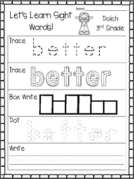 Let's Learn Sight Word Dolch 3rd Grade Worksheets. KDG Sight Words.