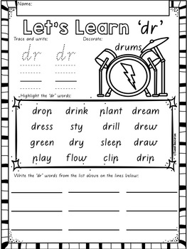 """Let's Learn The Blend """"dr"""" Victorian Modern Cursive Font Edition"""