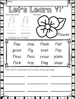 "Let's Learn The Blend ""fl"" Victorian Modern Cursive Font Edition"