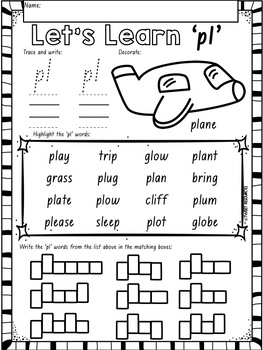 """Let's Learn The Blend """"pl"""" NSW Font Edition"""