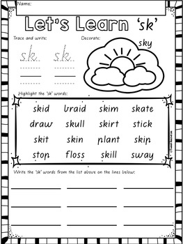 """Let's Learn The Blend """"sk"""" Victorian Modern Cursive Font Edition"""