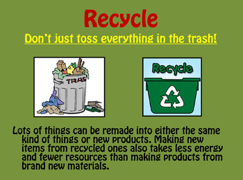 Let's Learn About Conservation and Recycling (PowerPoint)
