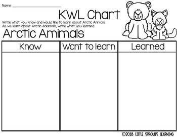 Arctic Animals reader plus KWL charts, VENN diagrams, worksheet