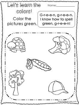 Let's Learn the Colors Printable Worksheets.  Preschool-KDG. Color Recognition.