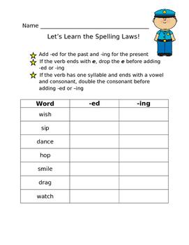 Let's Learn the Spelling Laws: Verb Endings Worksheet