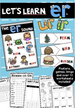 Let's Learn the /er/ sound. Er, Ir, Ur Phonics Bundle!