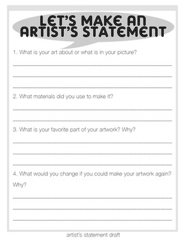 Let's Make An Artist's Statement! Draft Worksheet