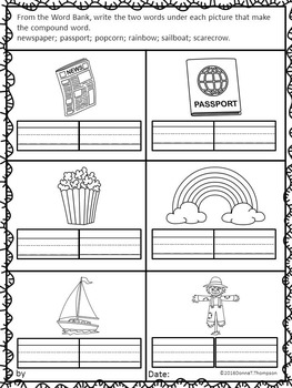 "Let's Make Words ""Write Compound Words"" (Compound Words Worksheets)"