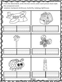 """Let's Make Words """"Write Compound Words"""" (Compound Words Worksheets)"""