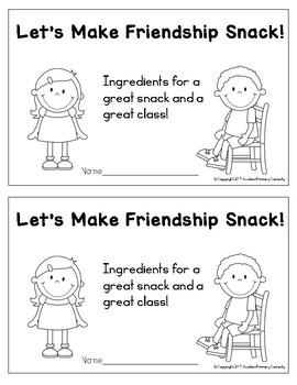 Let's Make Friendship Snack! Printable Reader