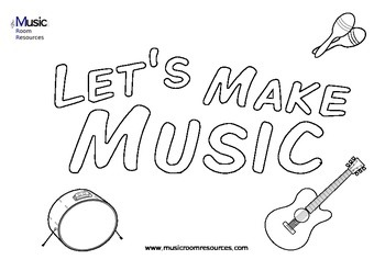 Let's Make Music - Simple Coloring In Sheet with Instruments