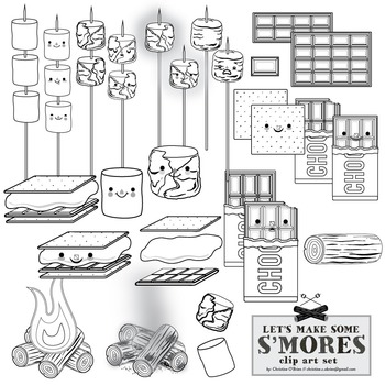 Let's Make S'Mores! Food Clip Art / S'Mores Clip Art Set