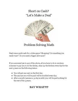 Let's Make a Deal?!? Problem Solving Math Challenge