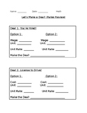 Let's Make a Deal! Student answer sheet