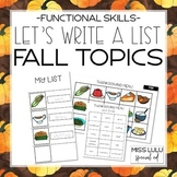 Let's Make a List: Fall Topics
