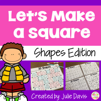 2D and 3D Shape Recognition and Identification Partner Game Activity Worksheet